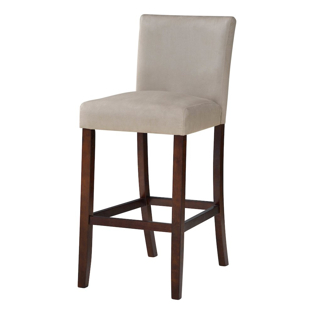 Set Of Two Beige Microfiber Barstools