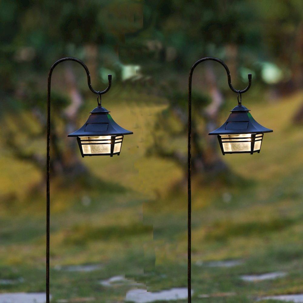 Set Of 2 Small Hanging Solar Lanterns With Shepherd S Hooks