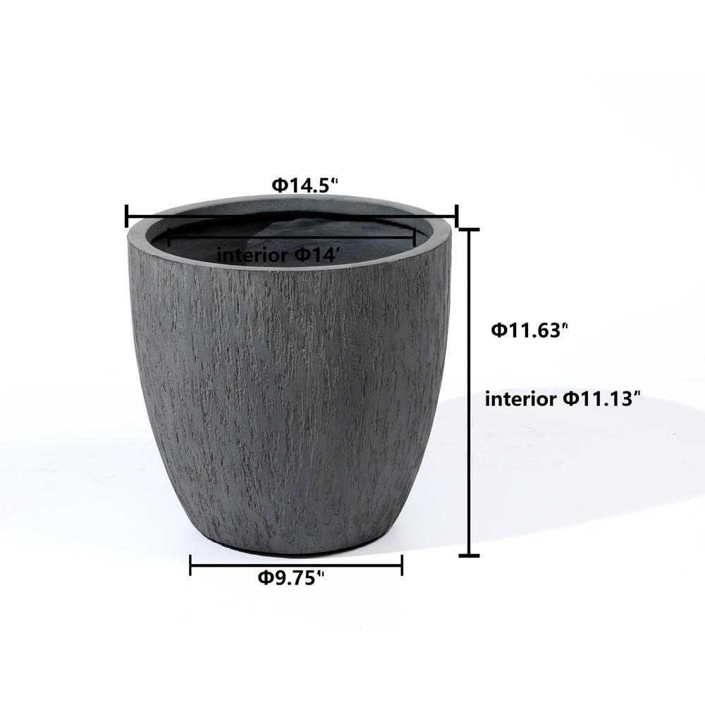 11in. H Round Gray MgO Planter. Picture 2