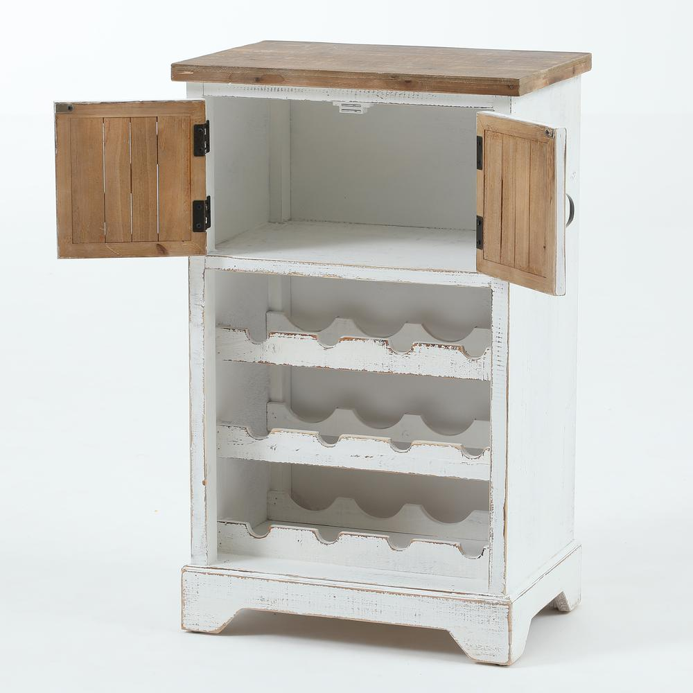 White and Natural Wood Wine Cabinet. Picture 2