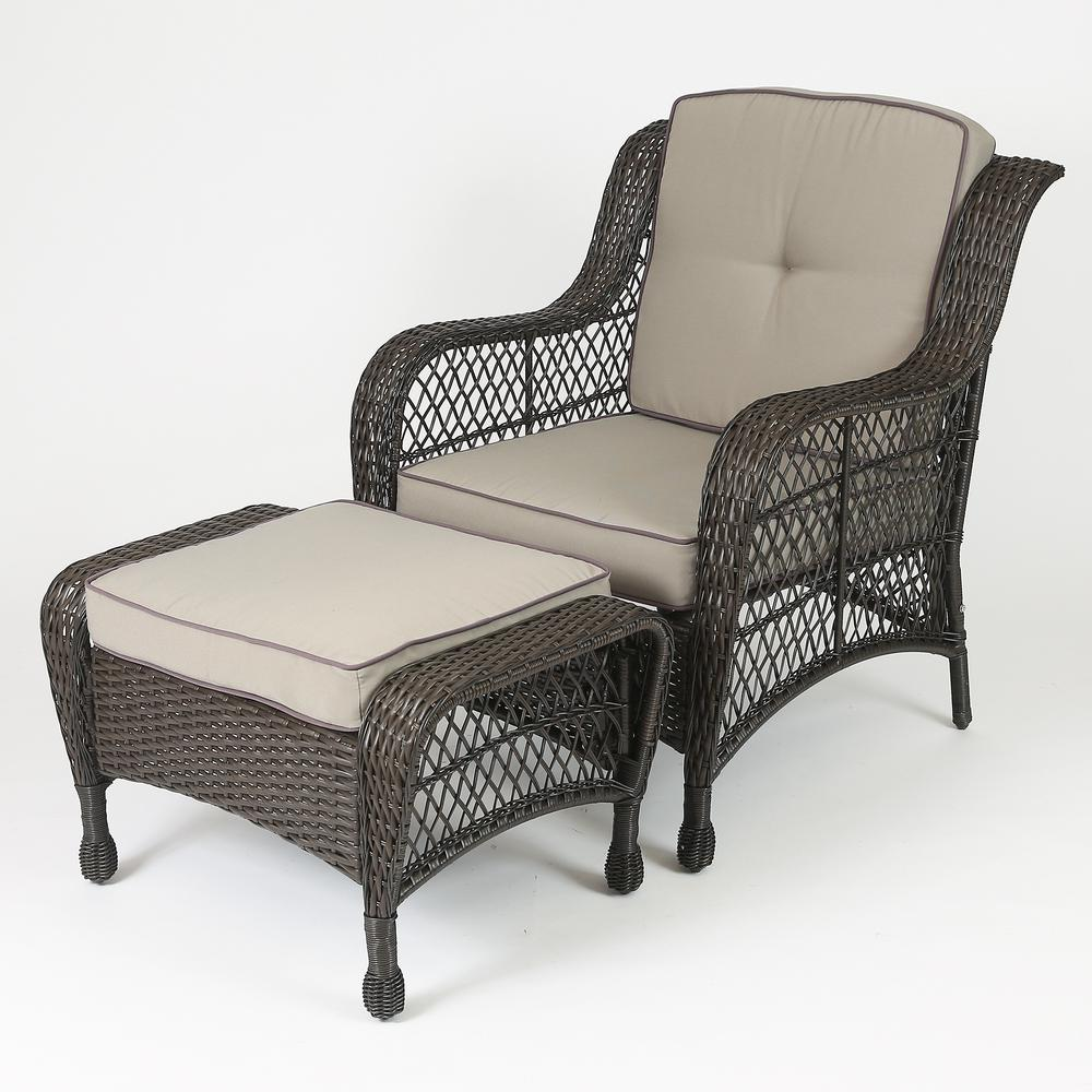 Set of 6 Plastic Wicker Sofa Set, Tan Cushions. Picture 4