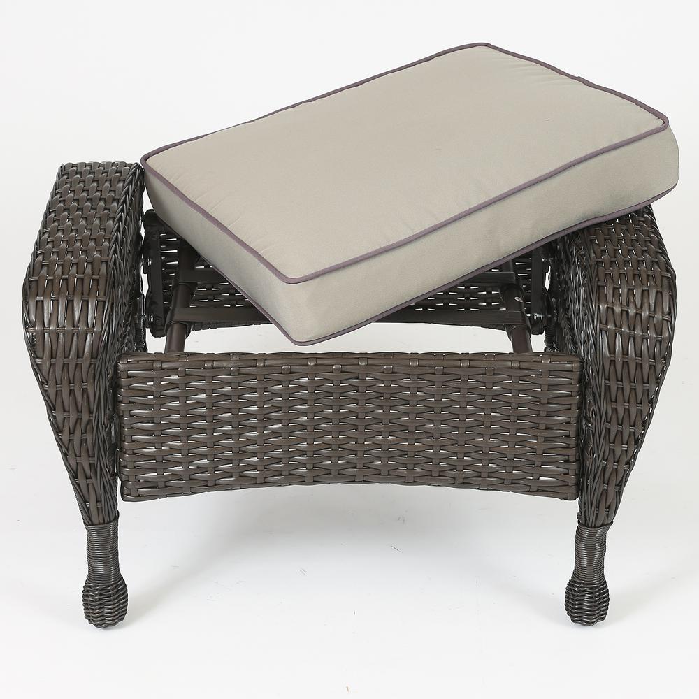 Set of 6 Plastic Wicker Sofa Set, Tan Cushions. Picture 7