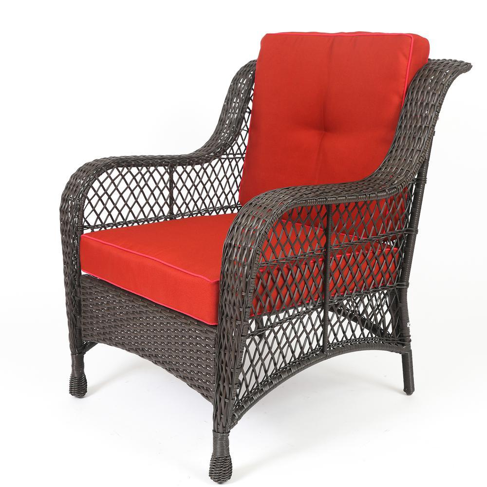 Set of 6 Plastic Wicker Sofa Set, Red Cushions