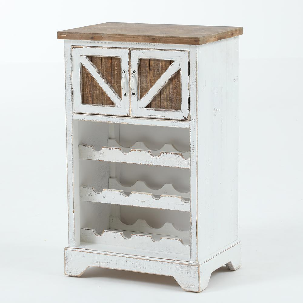 White and Natural Wood Wine Cabinet. Picture 4