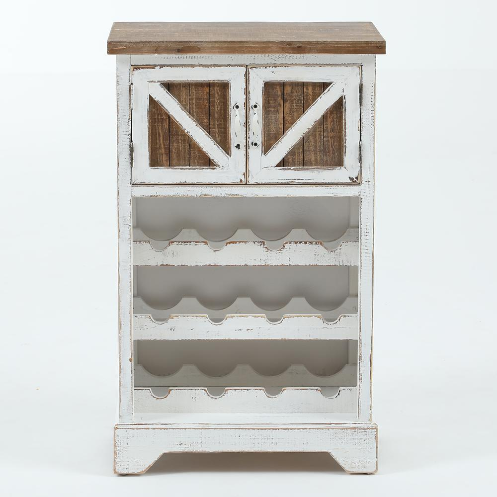 White and Natural Wood Wine Cabinet. Picture 1