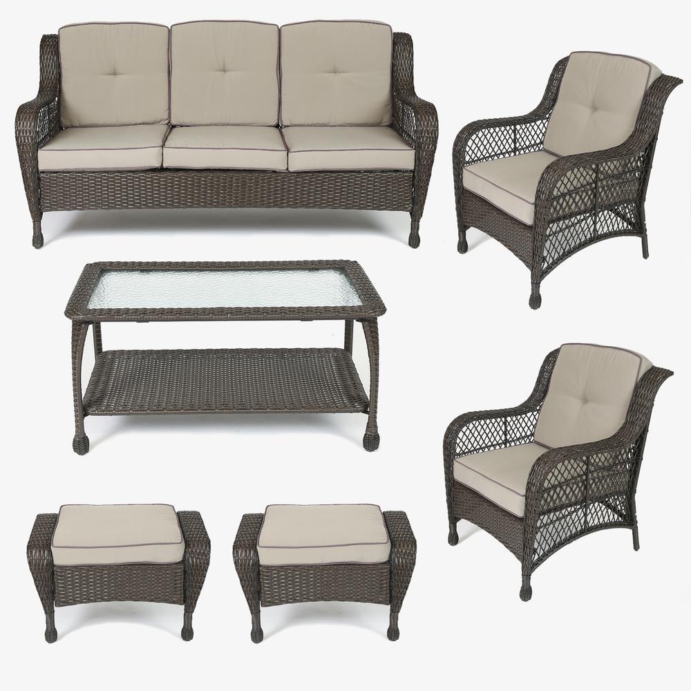 Set of 6 Plastic Wicker Sofa Set, Tan Cushions. Picture 1