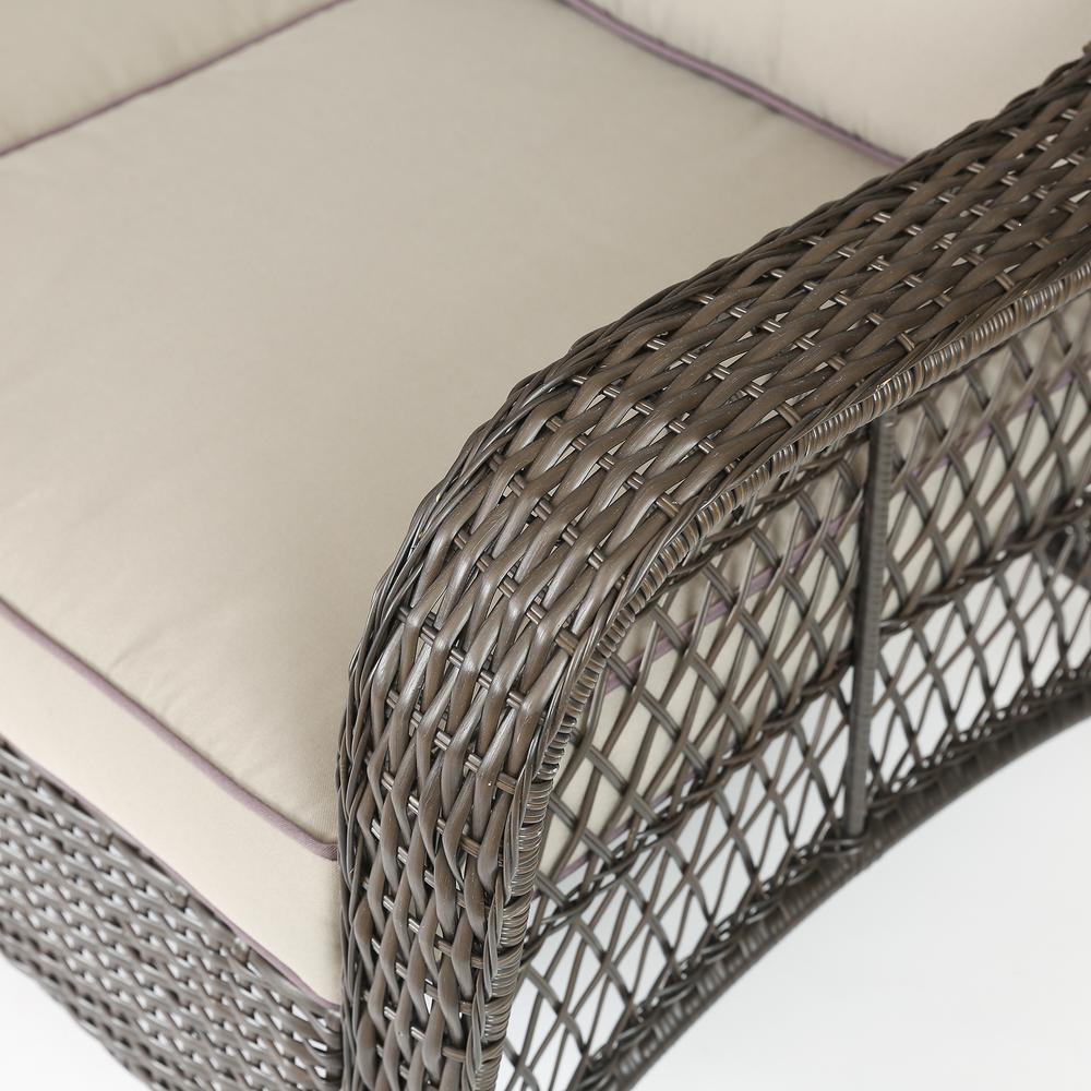 Set of 6 Plastic Wicker Sofa Set, Tan Cushions. Picture 8