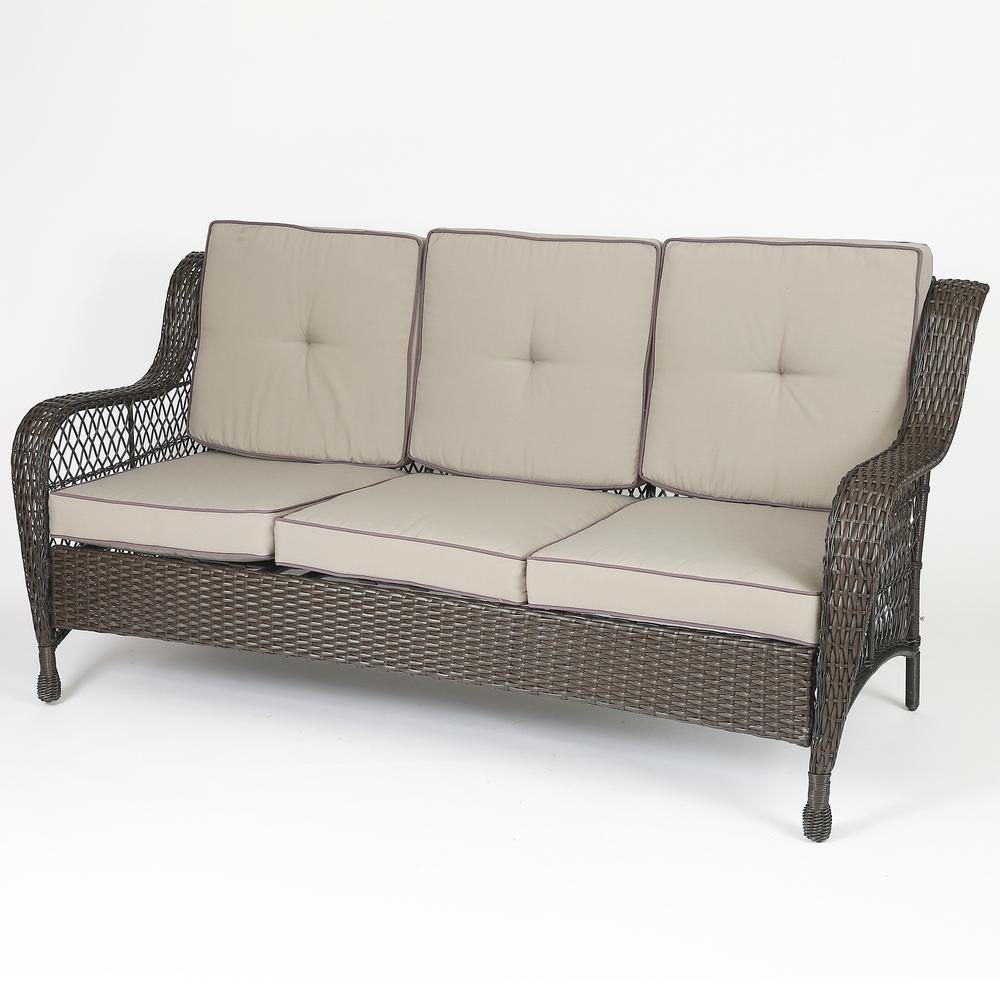 Set of 6 Plastic Wicker Sofa Set, Tan Cushions. Picture 9