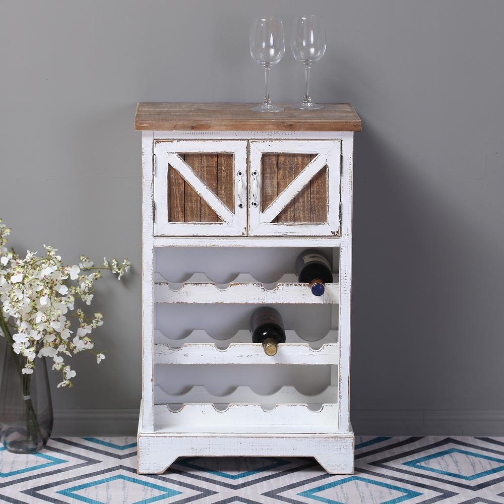 White and Natural Wood Wine Cabinet. Picture 8