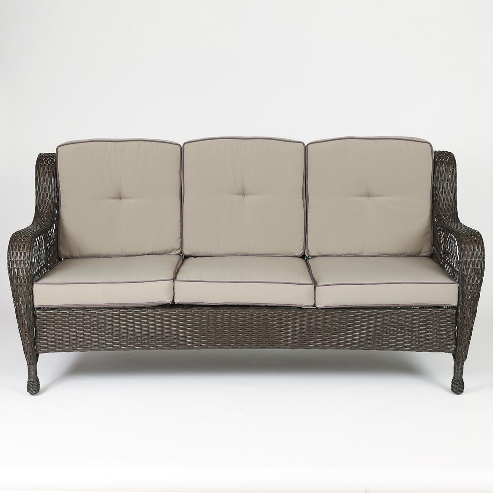 Set of 6 Plastic Wicker Sofa Set, Tan Cushions. Picture 3