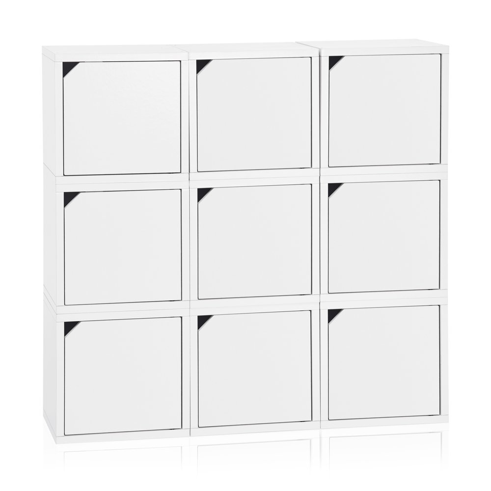 cabinets for the bathroom eco stackable connect 9 cube storage with doors white 17594