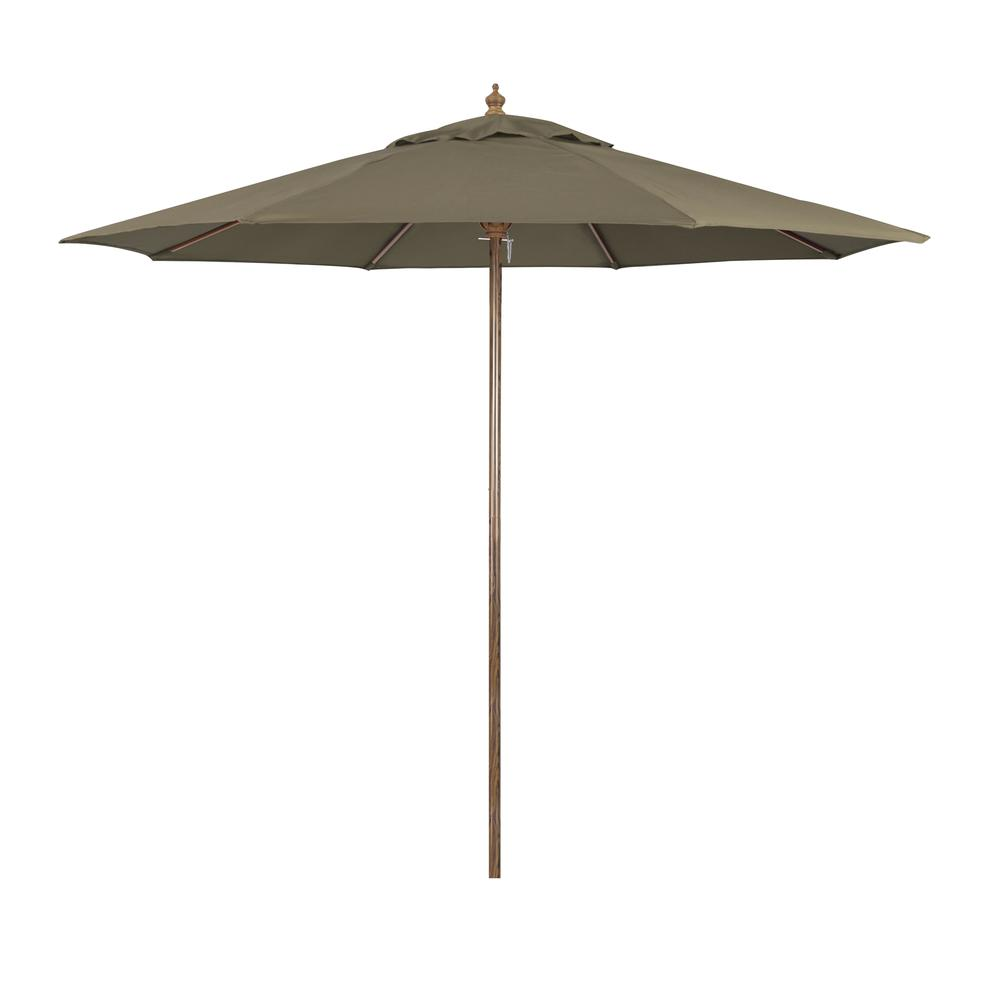 """9"""" Wood Grain Steel  Patio Umbrella with Steel  Ribs Push Lift in Taupe Polyester"""