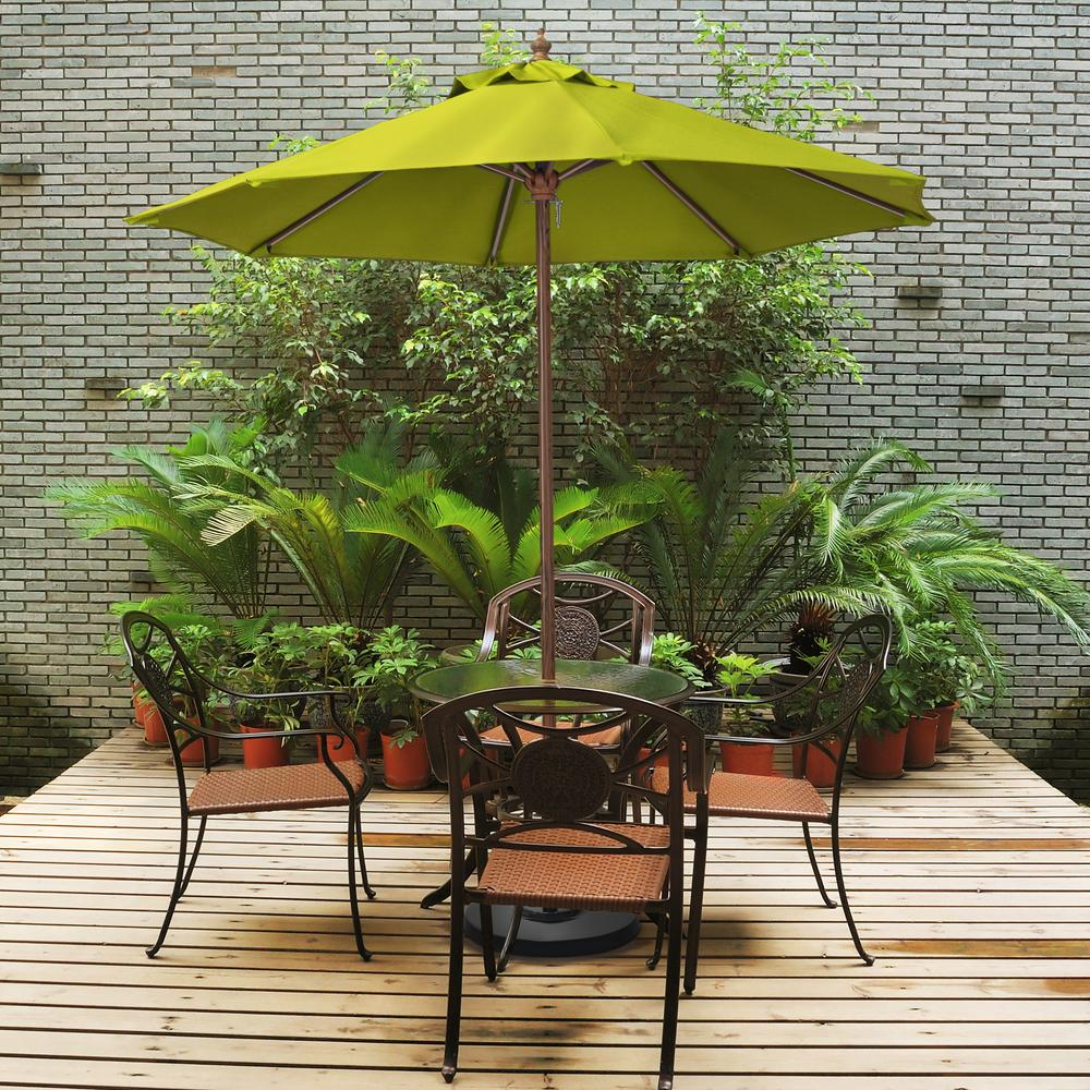"""9"""" Wood Grain Steel  Patio Umbrella with Steel  Ribs Push Lift in Lime Green Polyester"""