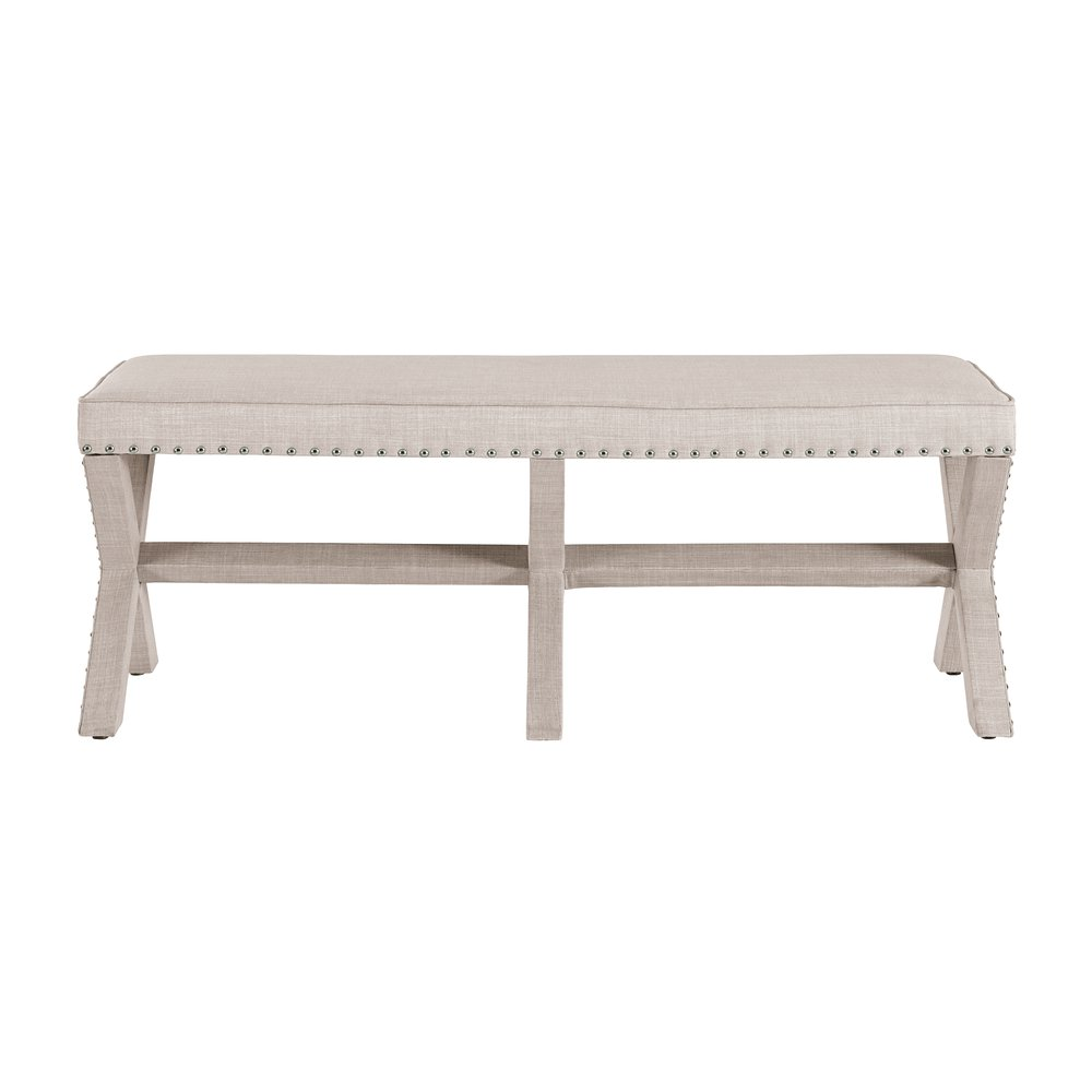 Beige Upholstered 39 X 39 Base Bed Bench