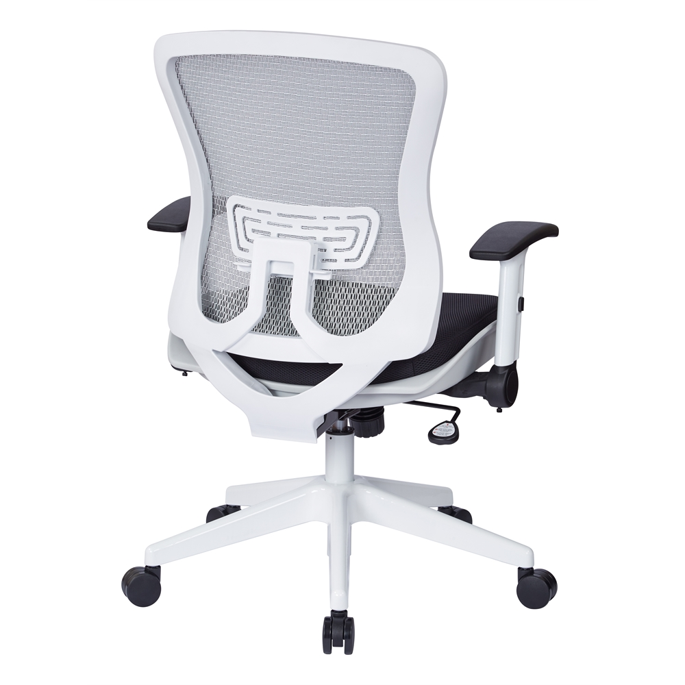 White Breathable Mesh Back Managers Chair. Picture 3