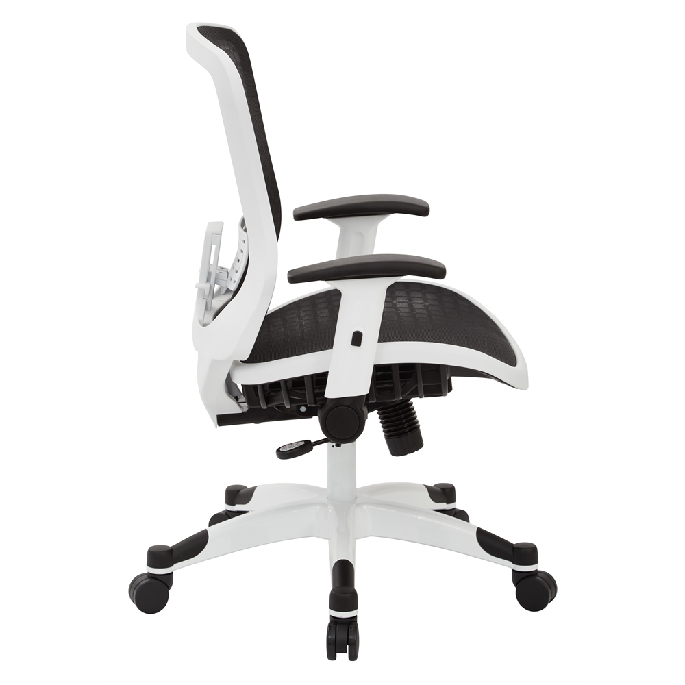 White Frame CHX Dark Breathable Mesh Seat and Back Manager Chair. Picture 2