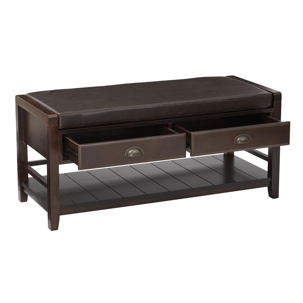 Solid Wood Black Storage Trunk Long Sofa Entryway Bench: Stafford Entry Bench