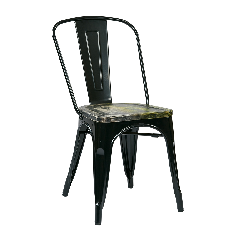 Bristow Metal Chair with Vintage Wood Seat. Picture 1