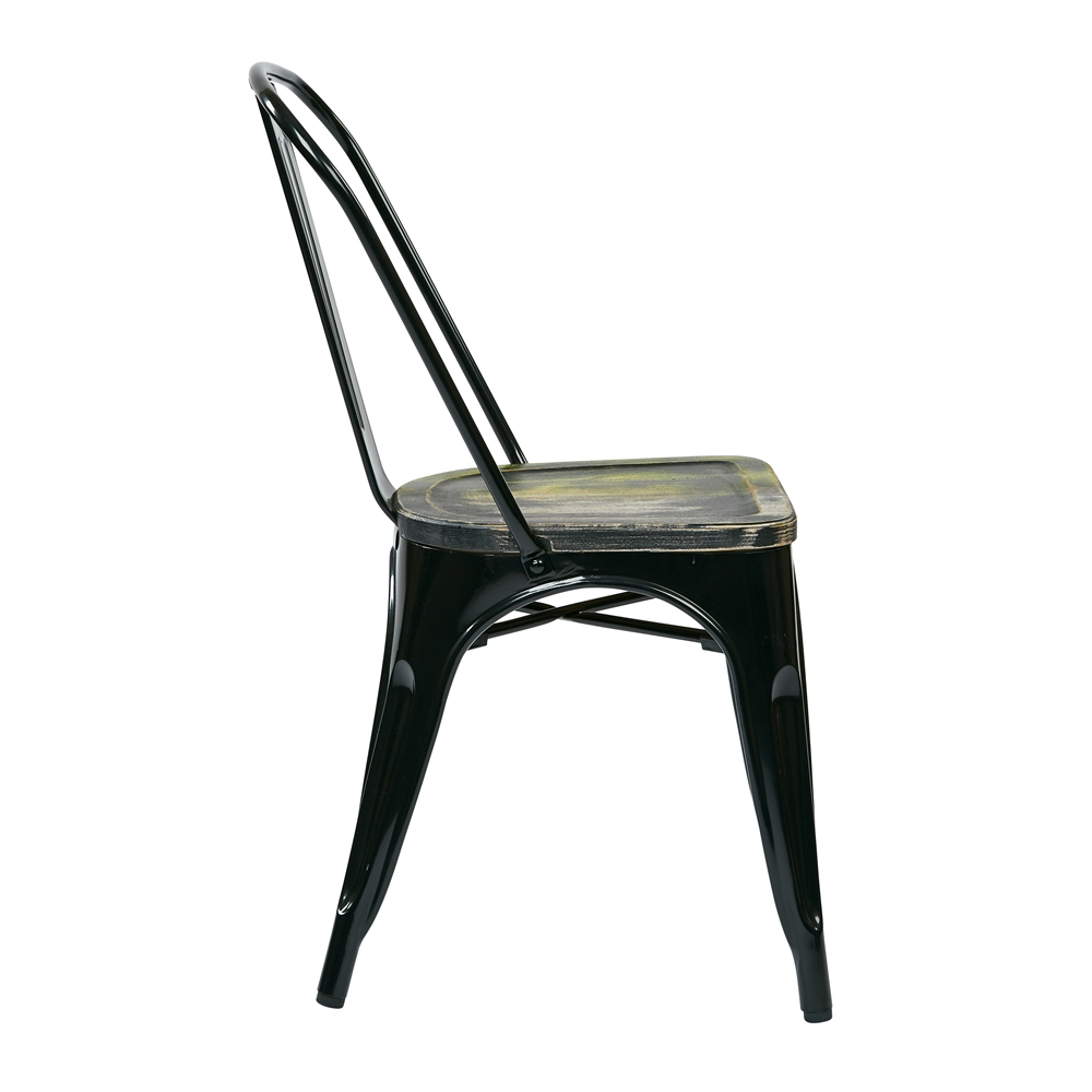 Bristow Metal Chair with Vintage Wood Seat. Picture 2