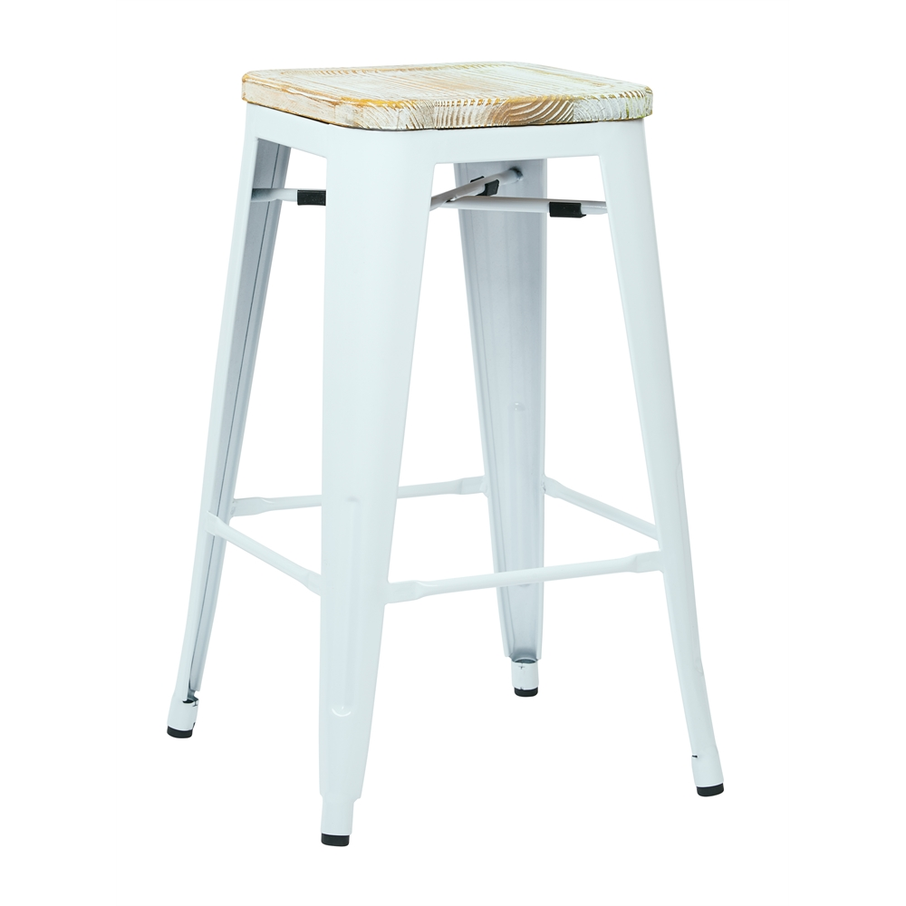 "Bristow 26"" Metal Barstool with Vintage Wood Seat. Picture 1"
