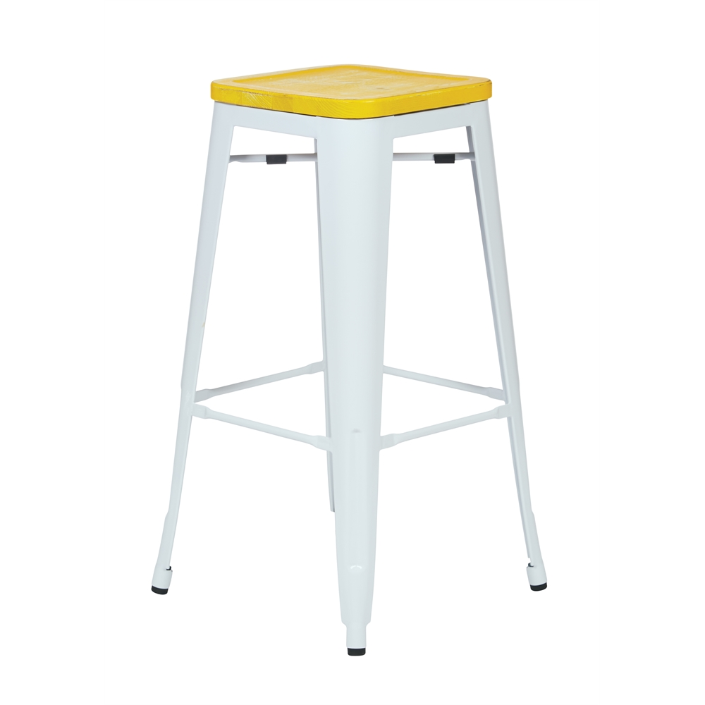 "Bristow 30"" Metal Barstool with Vintage Wood Seat. Picture 1"
