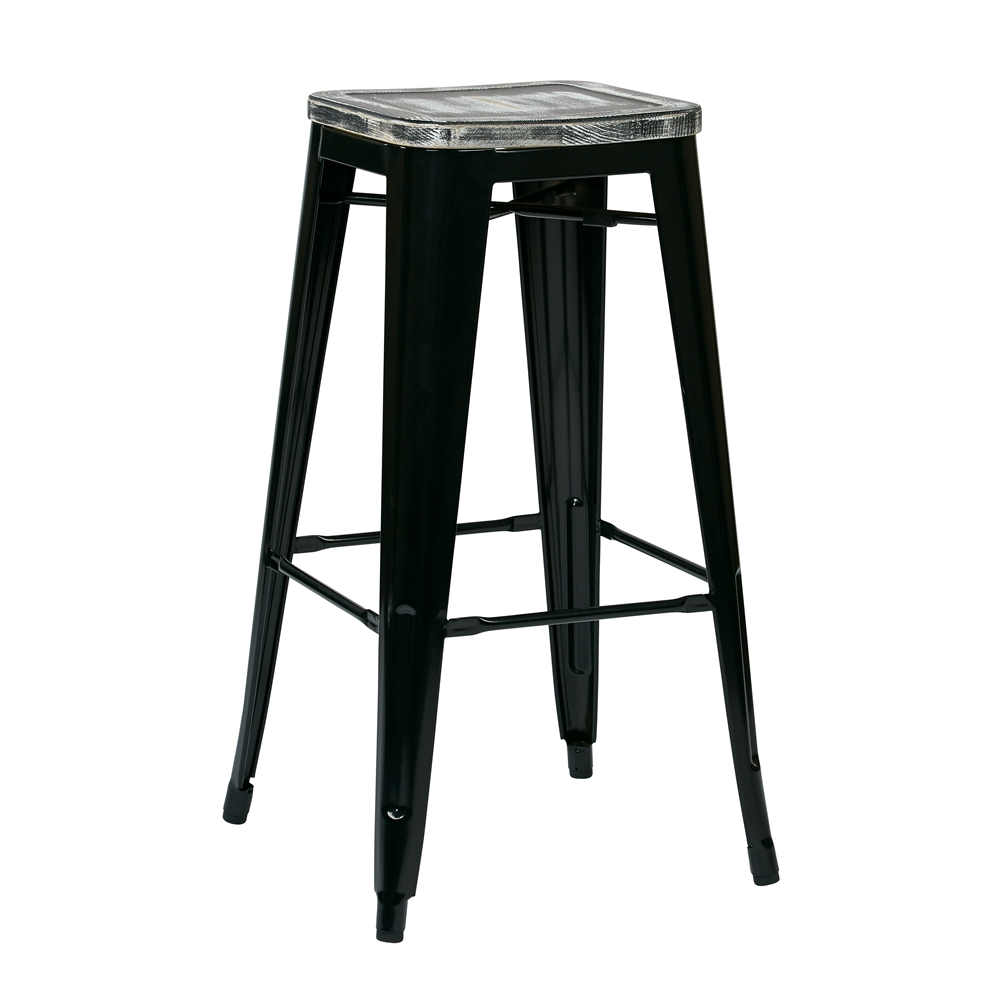 """Bristow 30"""" Metal Barstool with Vintage Wood Seat. Picture 1"""