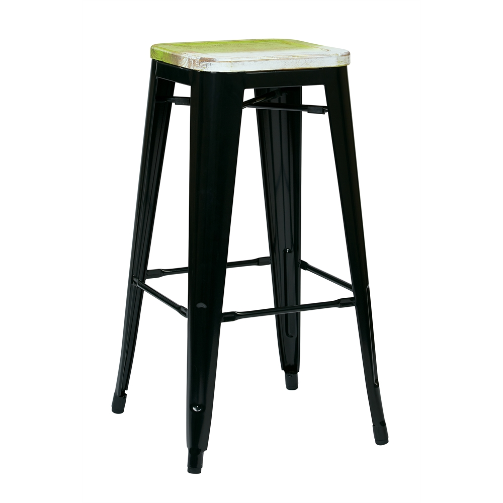 "Bristow 30"" Metal Barstool with Vintage Wood Seat. The main picture."