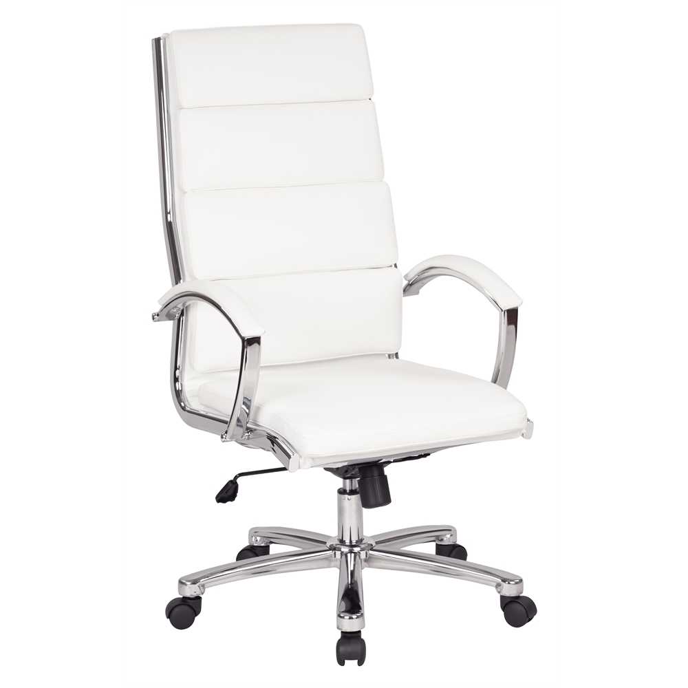 High back executive white faux leather chair for High back leather chairs