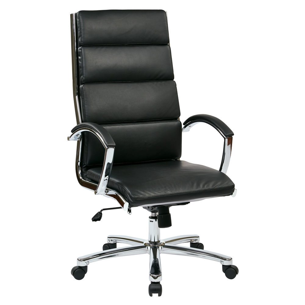High back executive black faux leather chair for High back leather chairs