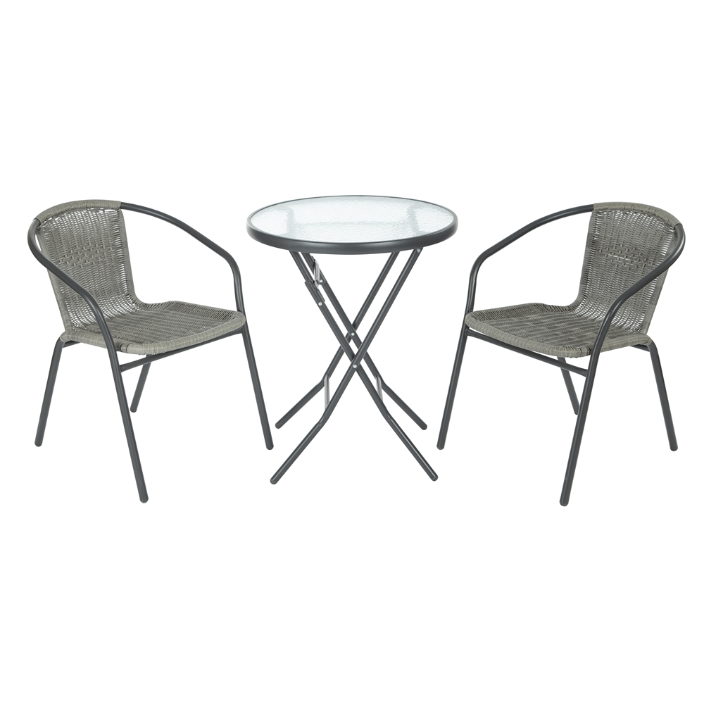 3pc Outdoor Folding Table And Rattan Chair Set