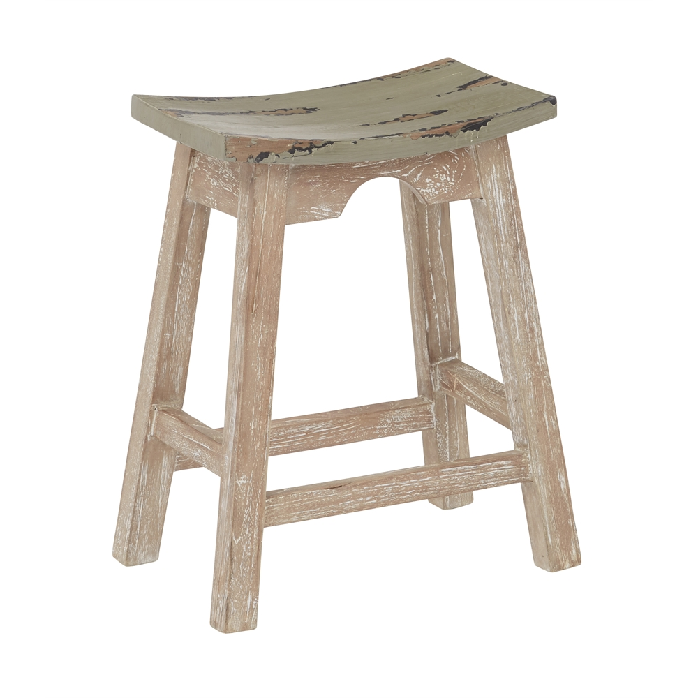 24 Quot Saddle Stool With White Wash Base And Rustic Grey Seat