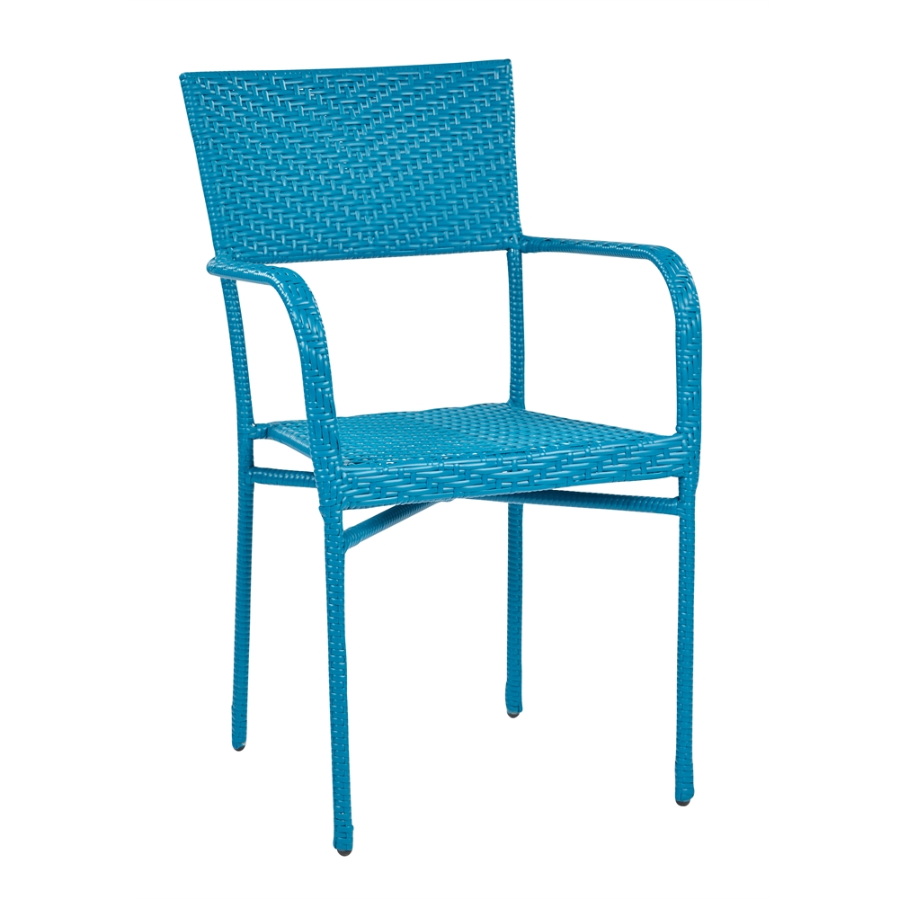 Resin Wicker Outdoor Arm Chair Blue