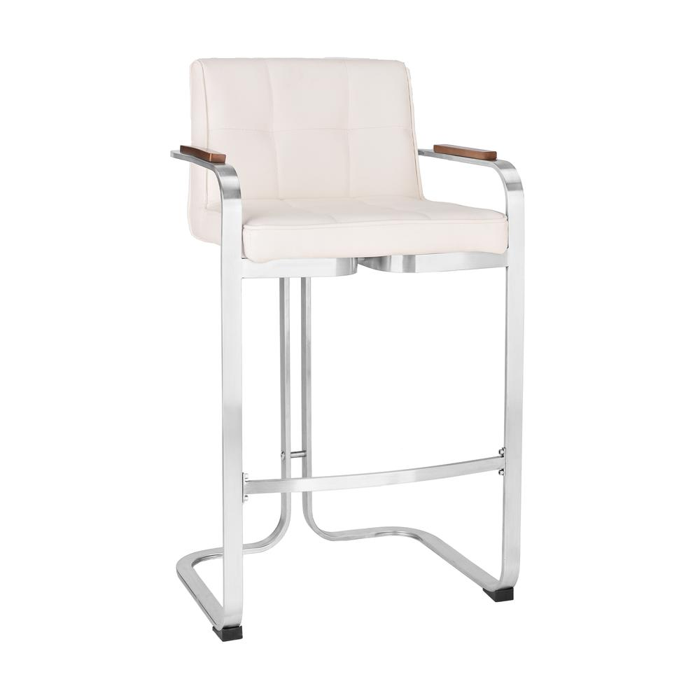 Wondrous Betty Contemporary 26 Counter Height Bar Stool In Brushed Stainless Steel With Black Faux Leather And Walnut Arms Caraccident5 Cool Chair Designs And Ideas Caraccident5Info