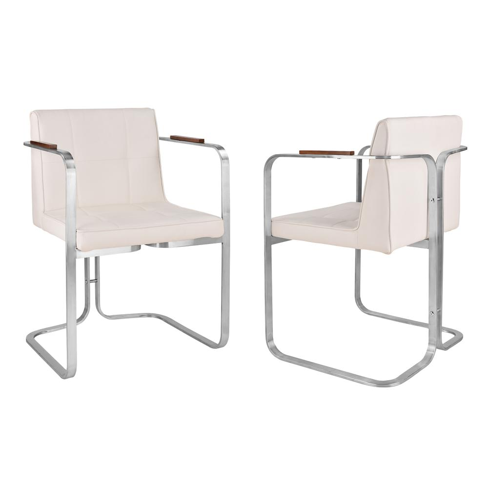 Crystal Contemporary Dining Chair In Brushed Stainless