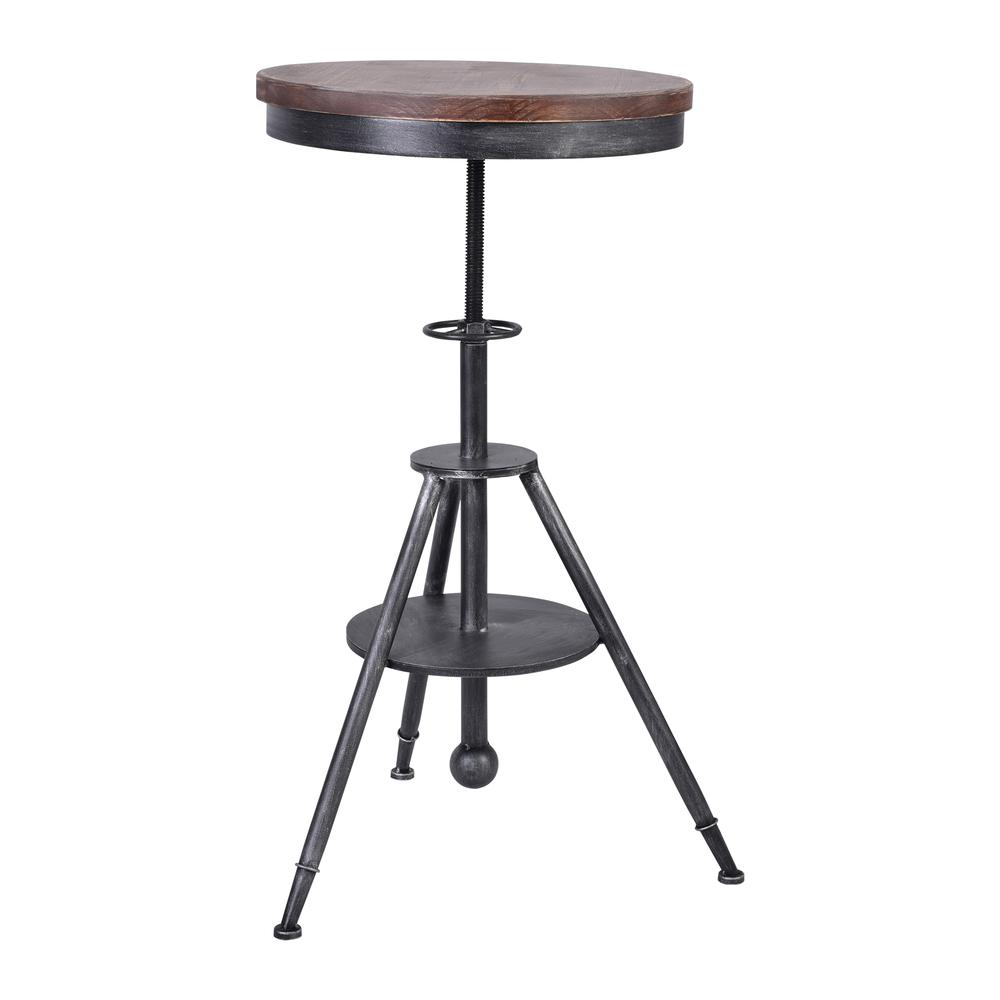 Lucia Industrial Metal Pub Table In Silver Brushed Gray