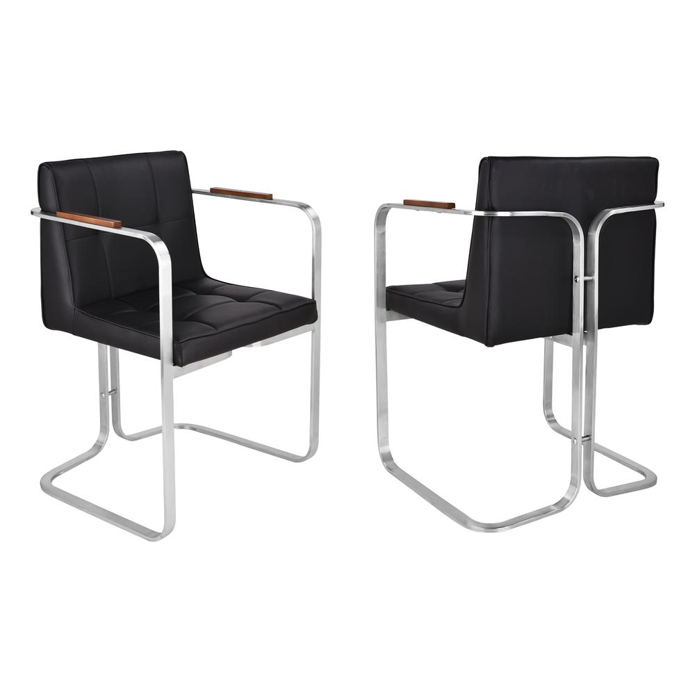 Martha Contemporary Dining Chair In Brushed Stainless