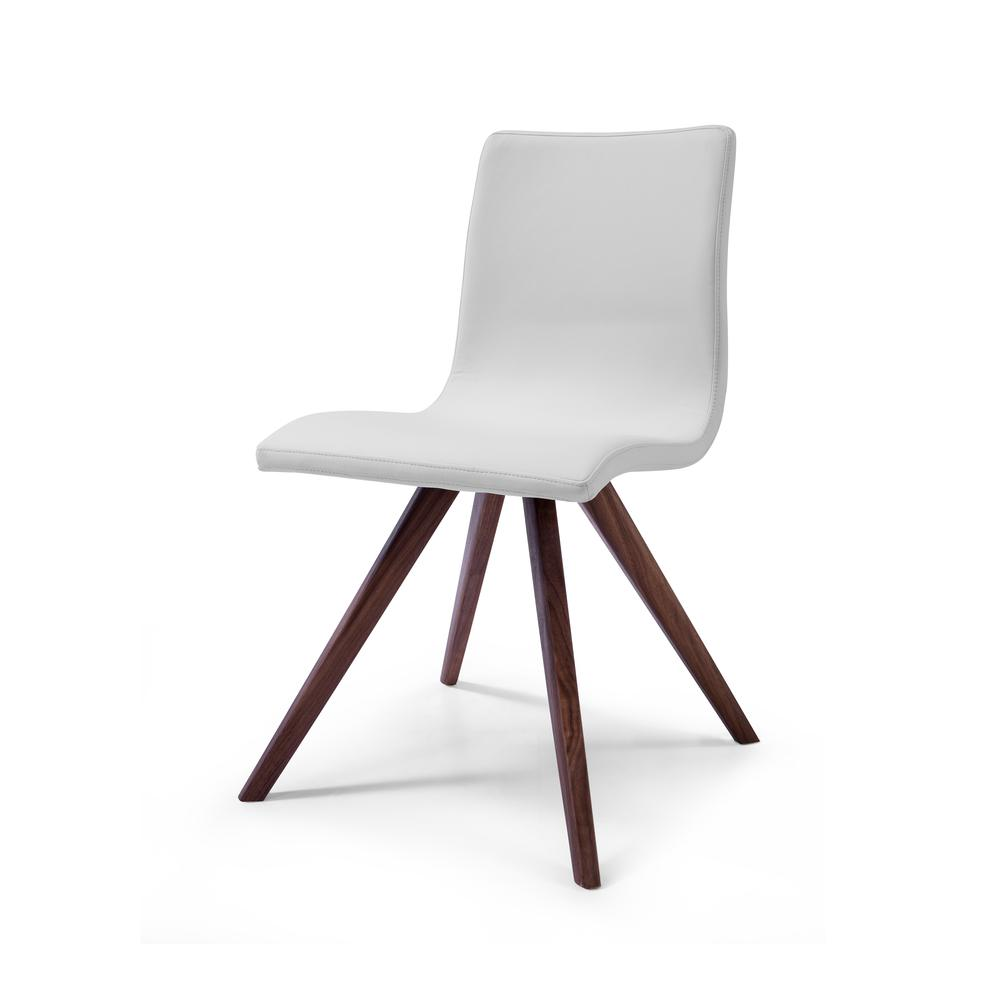 Ari Leather Dining Chair Walnut: Olga Dining Chair White Faux Leather Natural Walnut Solid