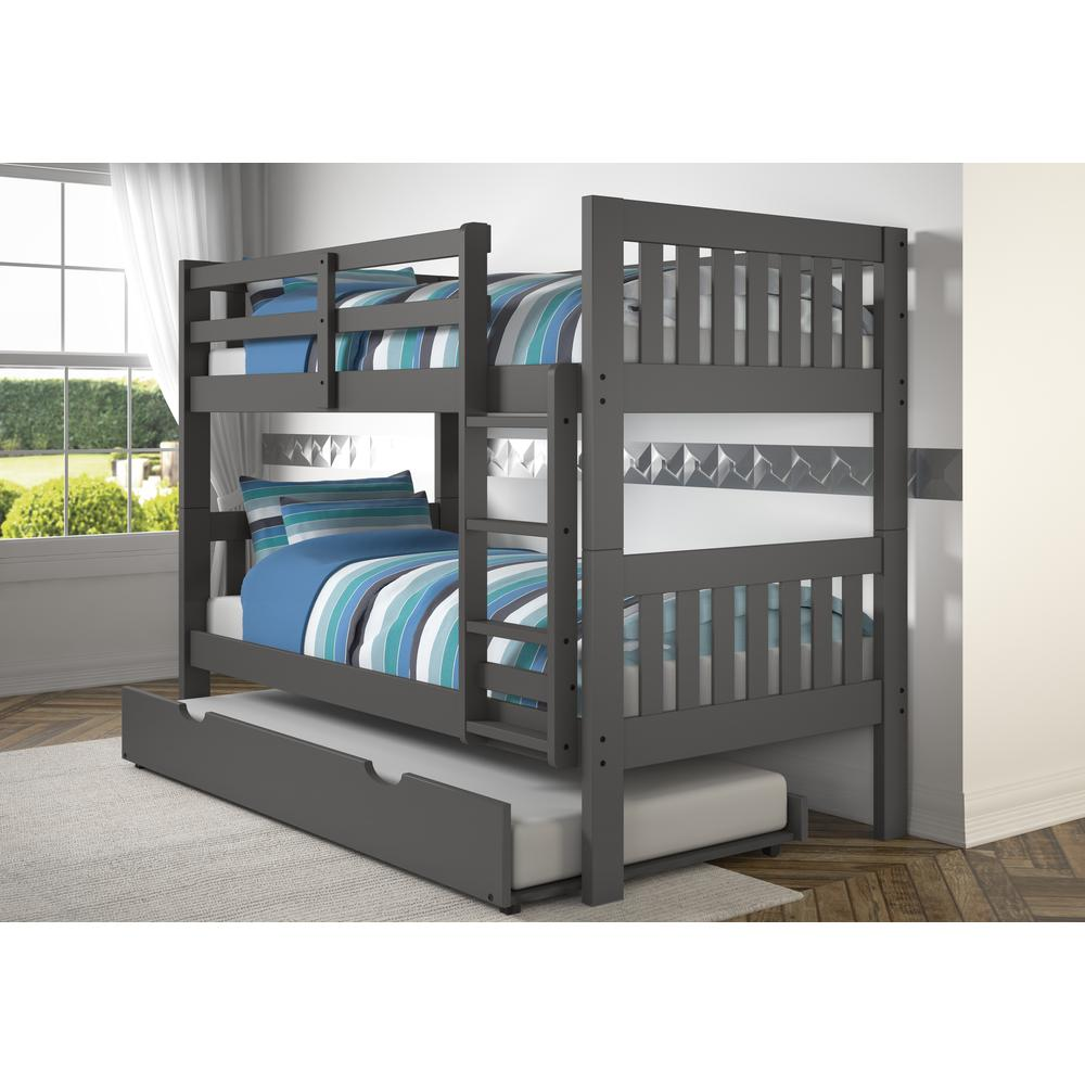 Twin/Twin Mission Bunk Bed W/Twin Trundle. Picture 1