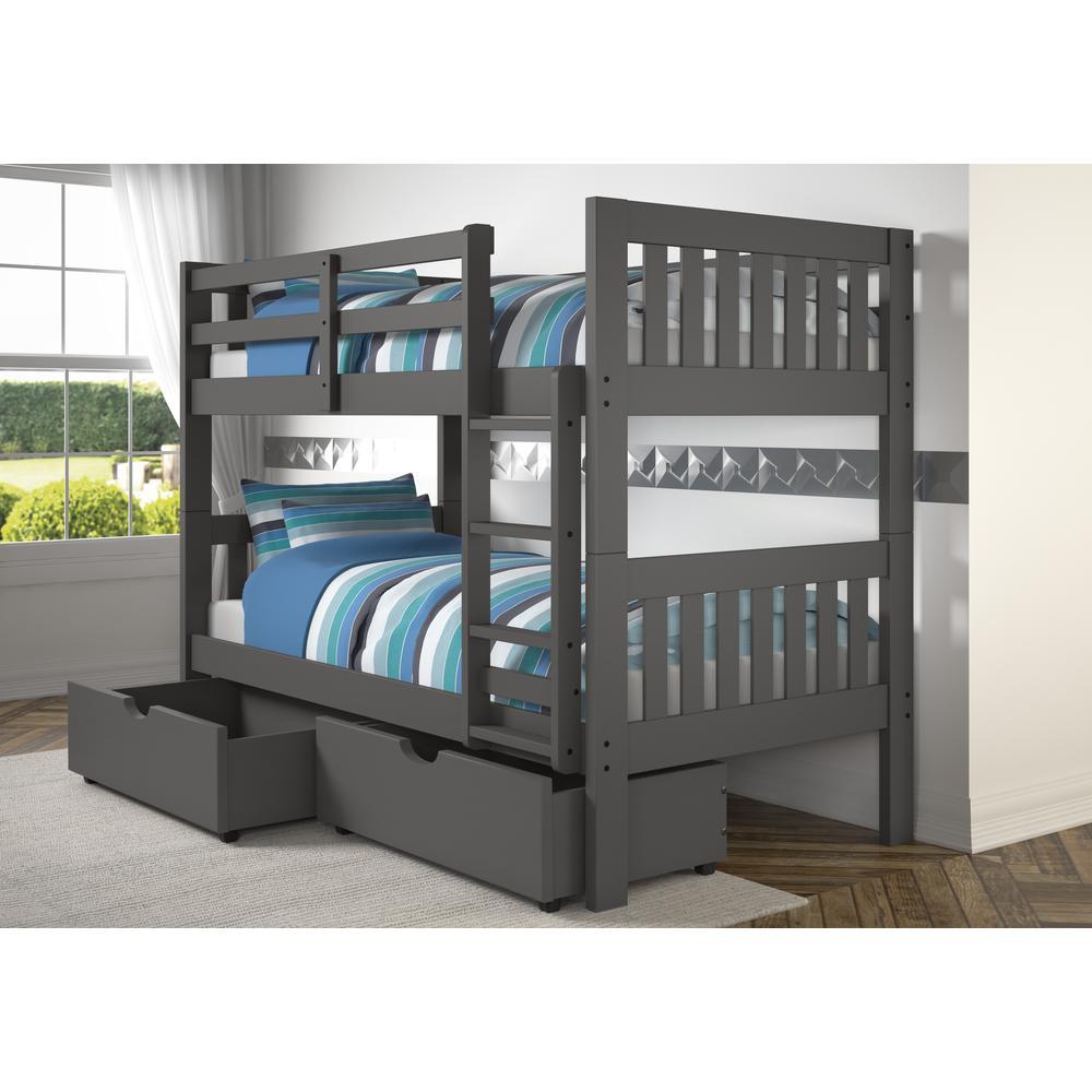 Twin/Twin Mission Bunk Bed W/Dual Under Bed Drawers. Picture 1
