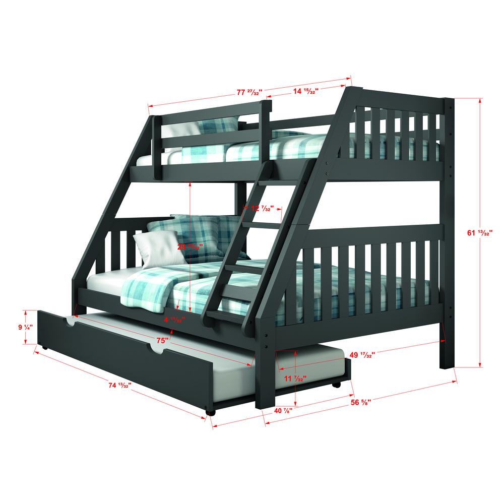 Twin/Full Mission Bunk Bed W/Twin Trundle. Picture 1