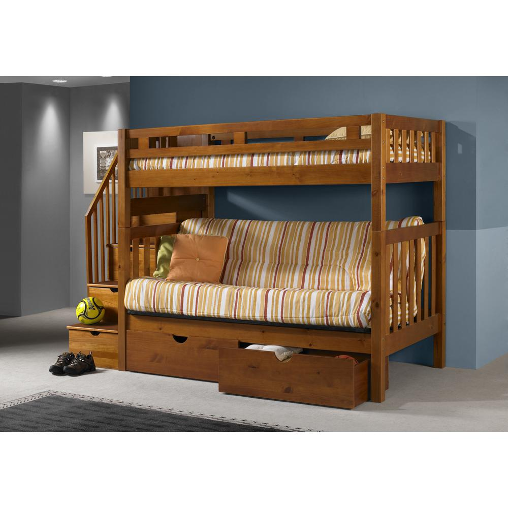 TWIN/FUTON TALL MISSION STAIRWAY BUNK BED W/ DUAL UNDERBED DRAWERS HONEY FINISH. Picture 1