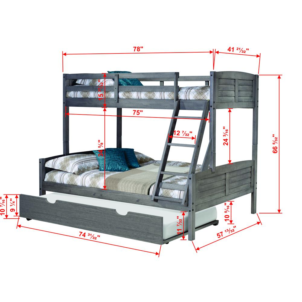 Twin/Full Louver Bunk Bed W/Twin Trundle. Picture 1