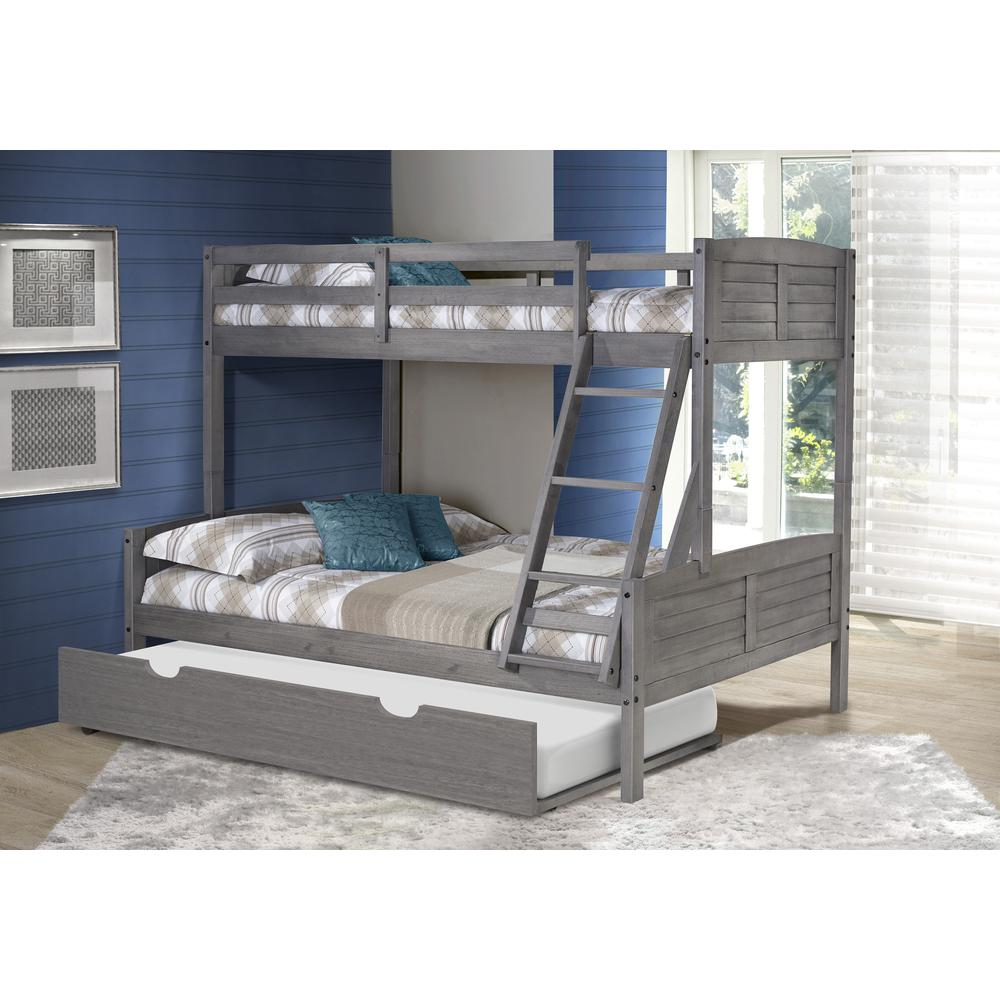 Twin/Full Louver Bunk Bed W/Twin Trundle. Picture 2