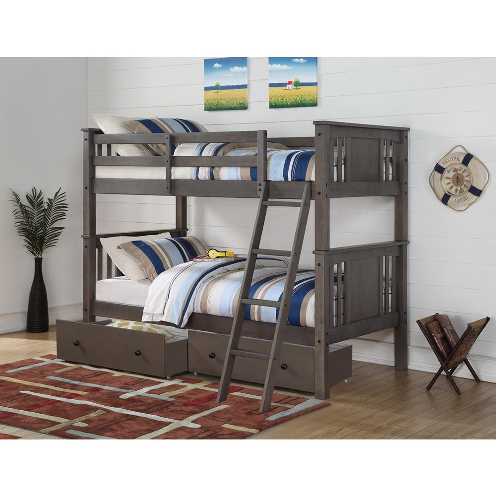 Twin/Twin Princeton Bunk Bed W/Dual Under Bed Drawers. Picture 1