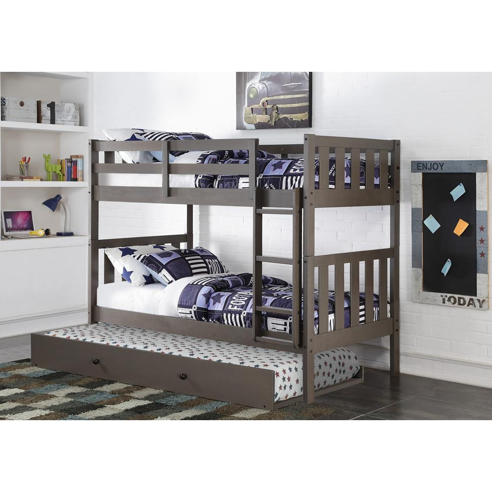 Twin/Twin Wide Mission Bunk Bed W/Twin Trundle. Picture 1