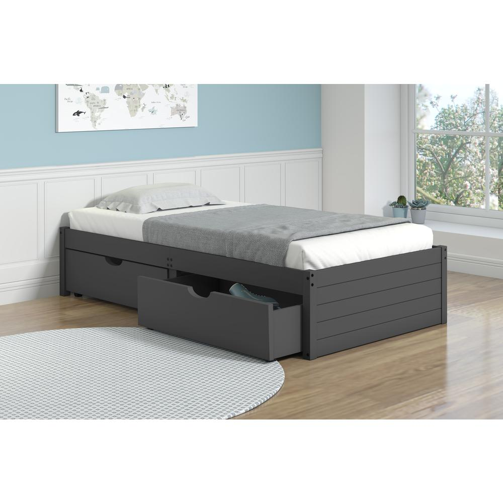 Twin Bed W/Dual Under Bed Drawers. Picture 1