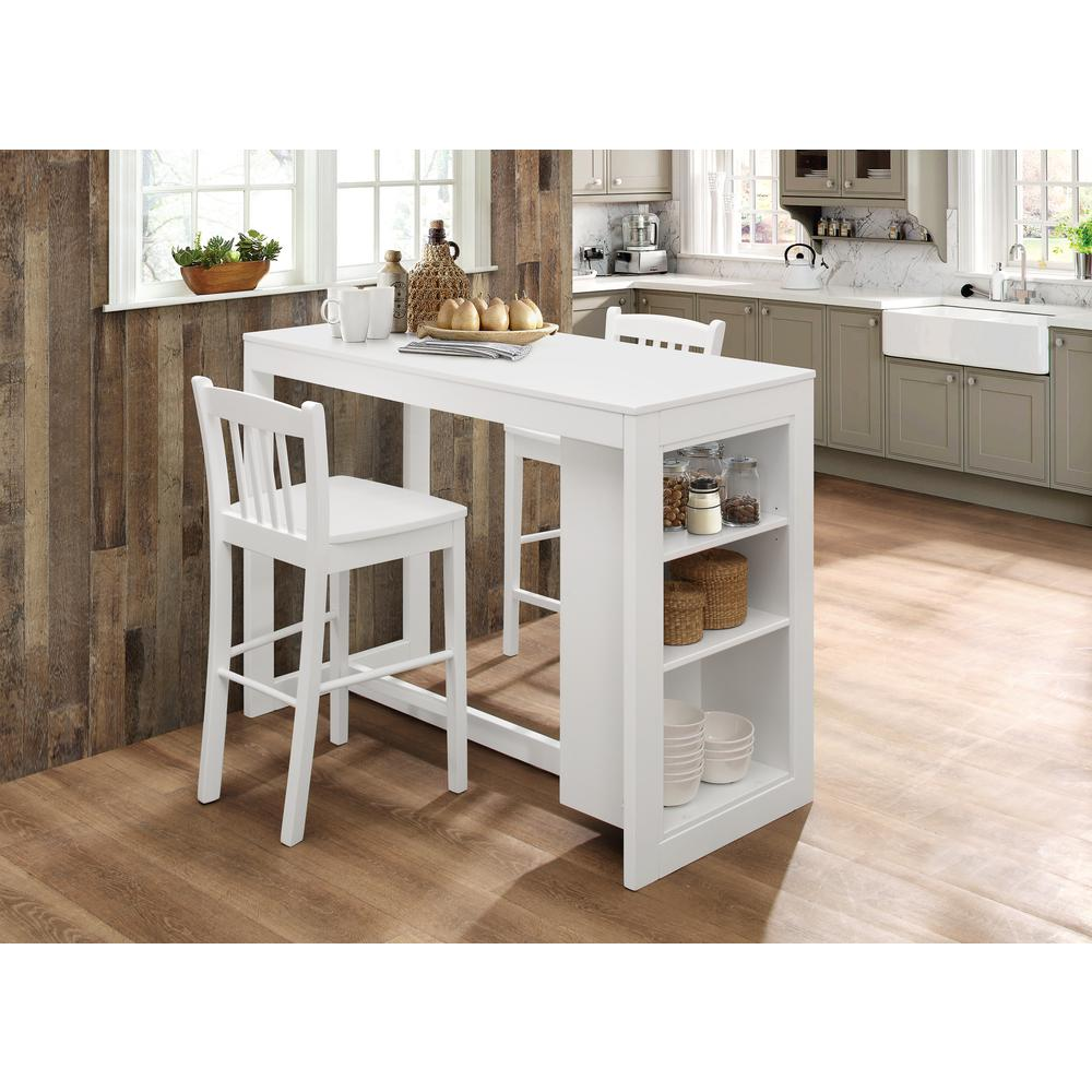 Tribeca Counter Height Dining Table with Shelving - Classic White. Picture 1
