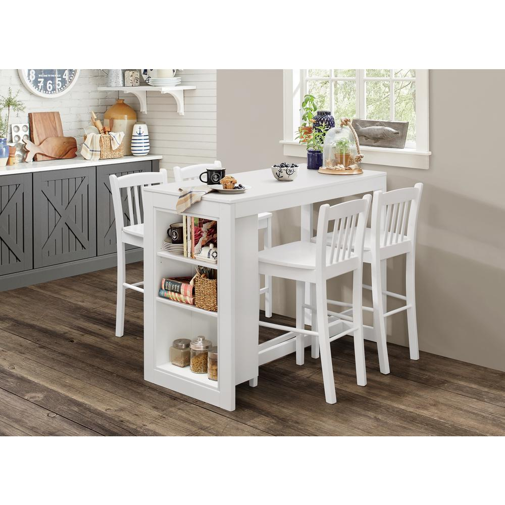 Tribeca Counter Height Dining Table with Shelving - Classic White. Picture 2