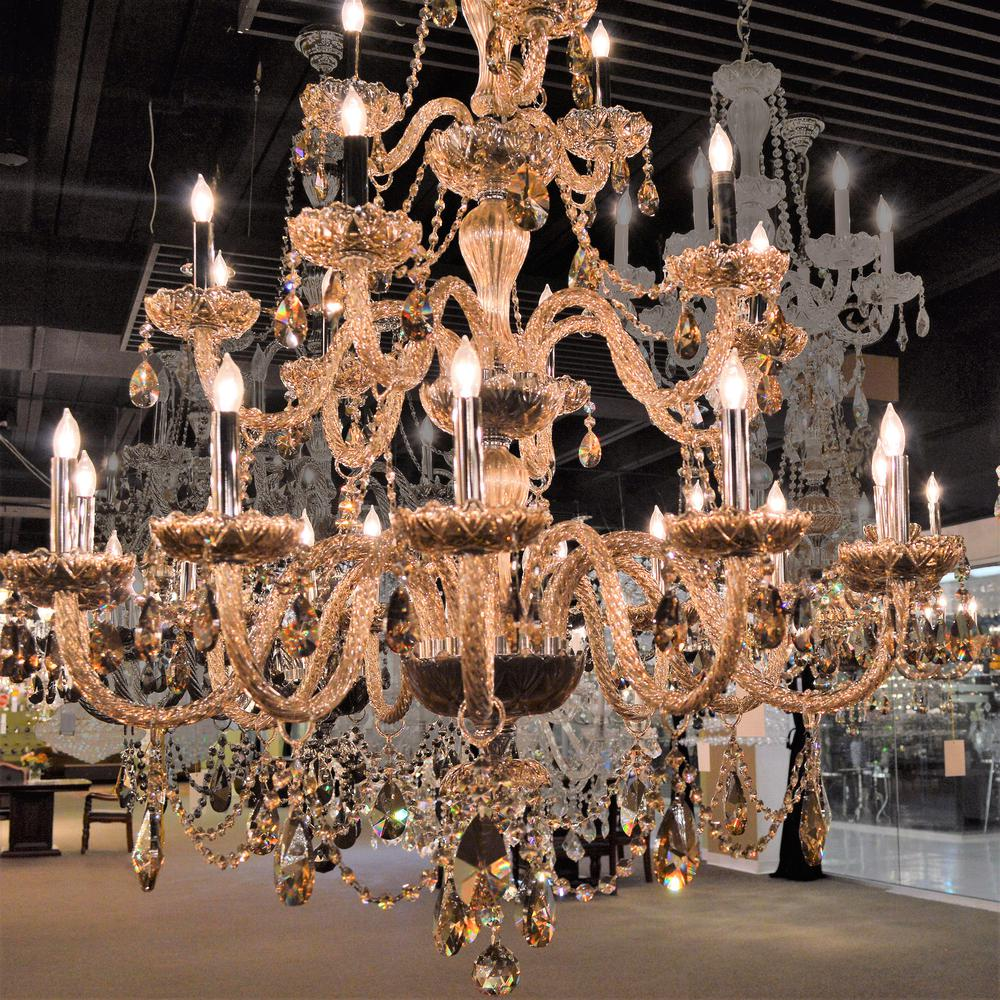 Worldwide Lighting Provence Collection 21 Light Chrome Finish and Golden Teak Crystal Chandelier 38 D x 54 H Three 3 Tier Large