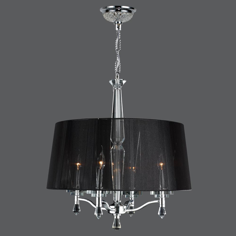 Gatsby Collection 4 Light Chrome Finish And Clear Crystal Chandelier With Black String Drum Shade 18